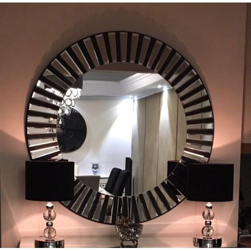 آینه دیواری مدل خورشیدی تراش خورده