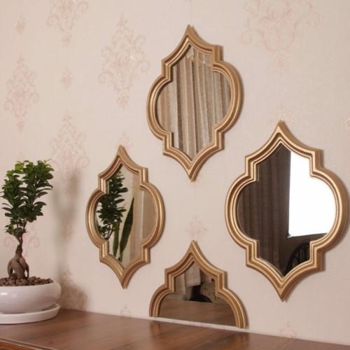 آینه شیشه ای با قاب چوبی طلایی چهار تایی