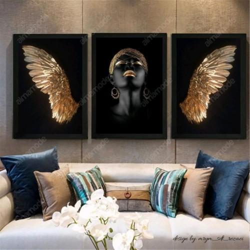 تابلو دکوراتیو قاب شده مدل فرشته طلایی