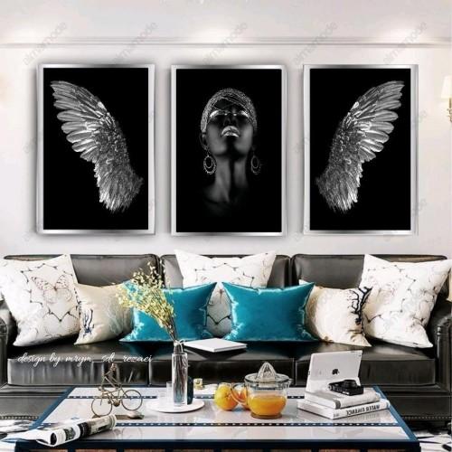 تابلو دکوراتیو قاب شده مدل فرشته نقره ای